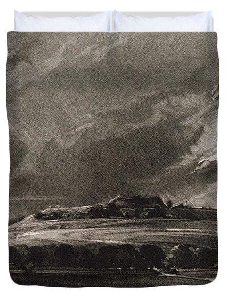 Old Sarum, Engraved By David Lucas 1802-81 C.1829 Mezzotint Duvet Cover