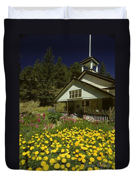 Old Schoolhouse And Garden. Duvet Cover