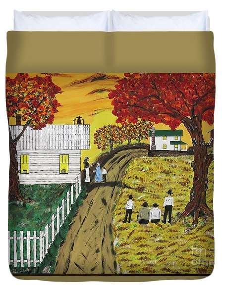 Old Schoolhouse Bell Duvet Cover by Jeffrey Koss
