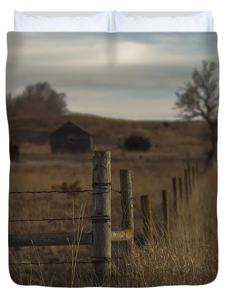 Rural Nebraska Fence  Duvet Cover