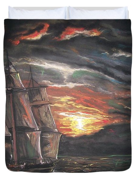 Old Ship Of The Sea Duvet Cover by Peter Suhocke