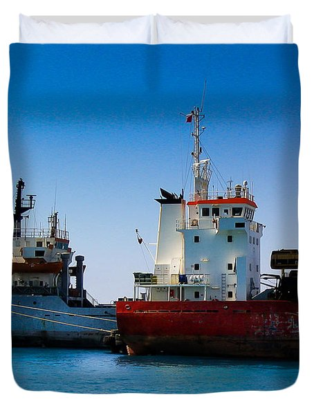 Duvet Cover featuring the photograph Old Ships by Kevin Desrosiers