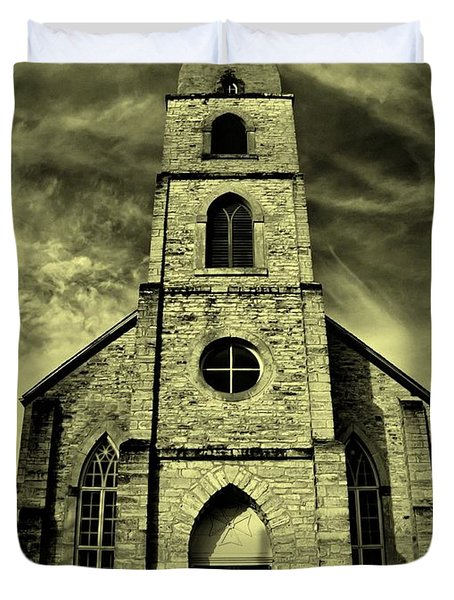 Old St. Mary's Church In Fredericksburg Texas In Sepia Duvet Cover
