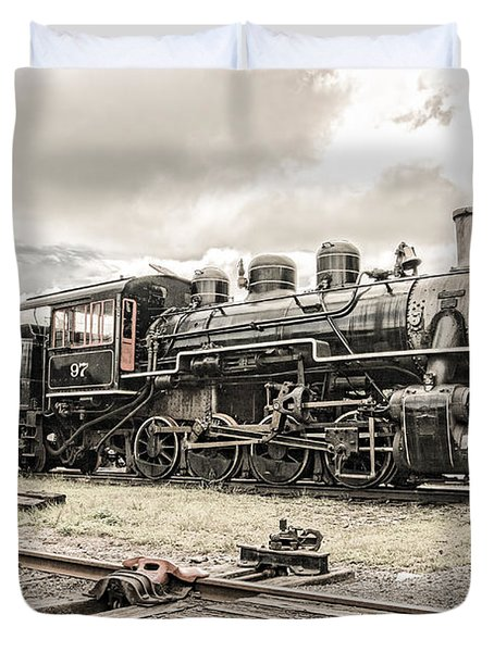 Duvet Cover featuring the photograph Old Steam Locomotive No. 97 - Made In America by Gary Heller