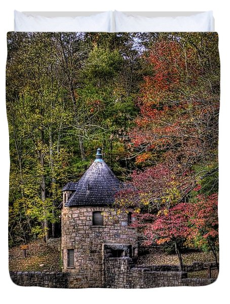 Duvet Cover featuring the photograph Old Stone Tower At The Edge Of The Forest by Jonny D