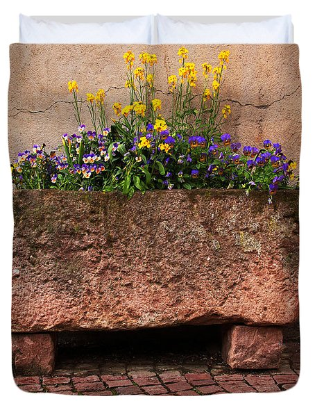 Old Stone Trough And Flowers In Alsace France Duvet Cover by Greg Matchick