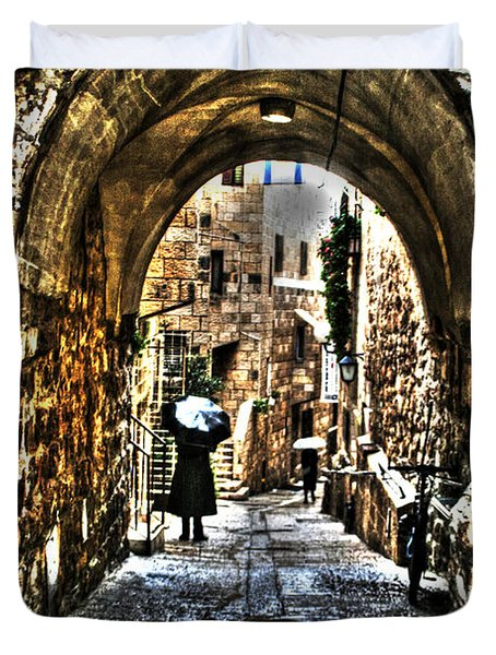 Duvet Cover featuring the photograph Old Street In Jerusalem by Doc Braham