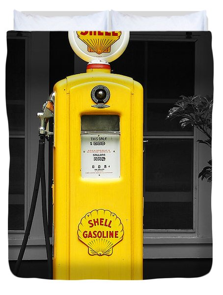 Old Time Gas Pump Duvet Cover by David Lawson