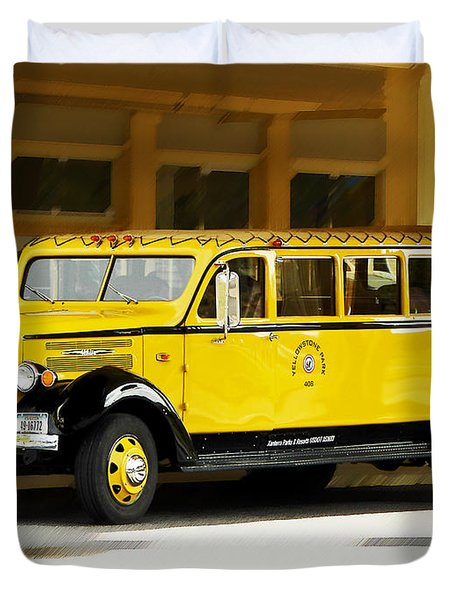 Old Time Yellowstone Bus Duvet Cover by David Lawson