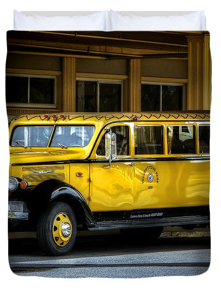 Old Time Yellowstone Bus II Duvet Cover by David Lawson