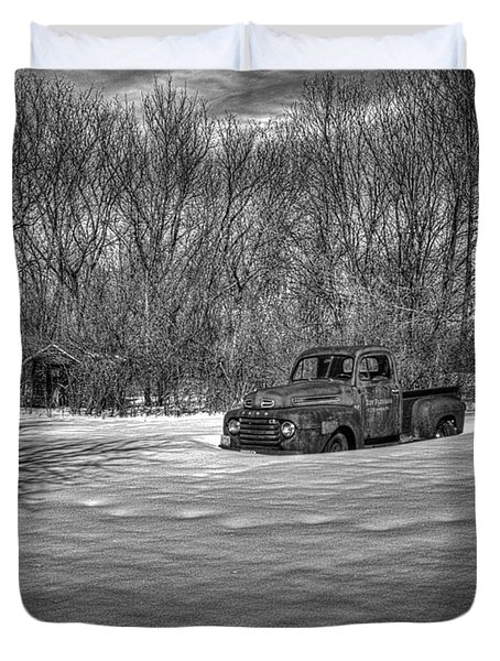 Old Timer In The Snow Duvet Cover