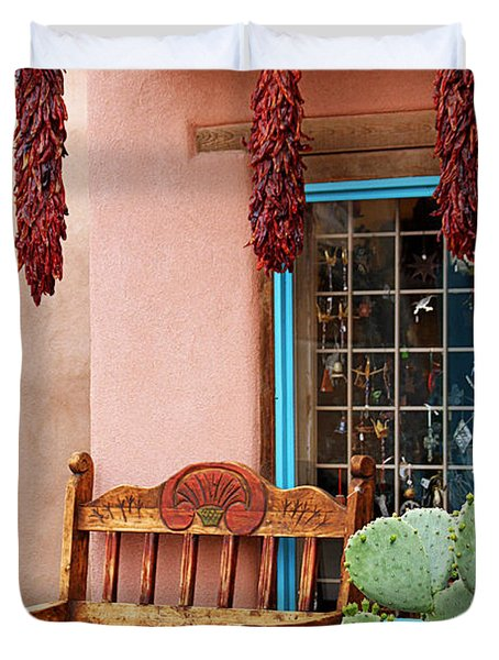 Old Town Albuquerque Shop Window Duvet Cover by Catherine Sherman