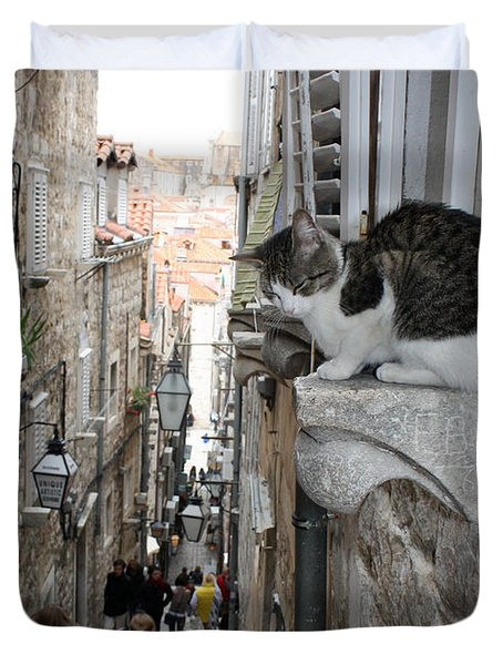 Old Town Alley Cat Duvet Cover by David Nicholls