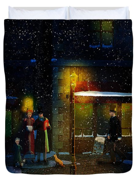 Old Town Christmas Eve Duvet Cover
