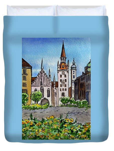 Old Town Hall Munich Germany Duvet Cover by Irina Sztukowski