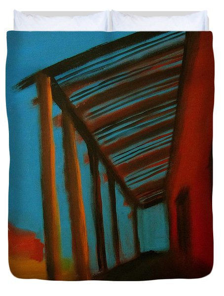 Duvet Cover featuring the painting Old Town by Keith Thue