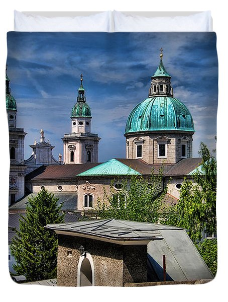 Old Town Salzburg Austria In Hdr Duvet Cover by Sabine Jacobs