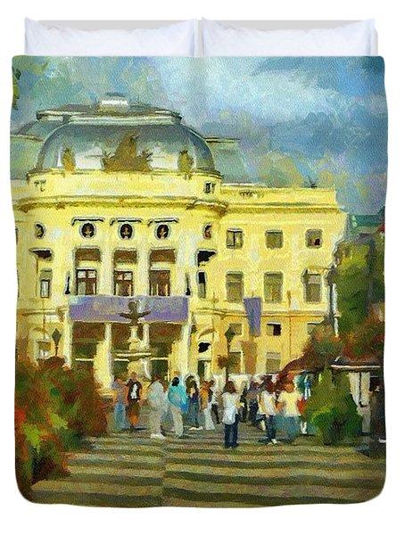 Old Town Square Duvet Cover by Jeffrey Kolker