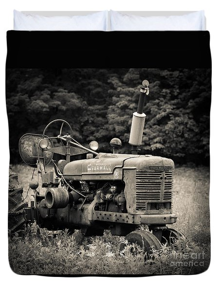 Old Tractor Black And White Square Duvet Cover by Edward Fielding