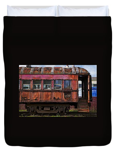 Old Train Car Duvet Cover by Garry Gay