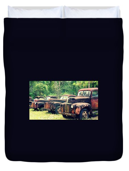 Old Trucks Graveyard Duvet Cover