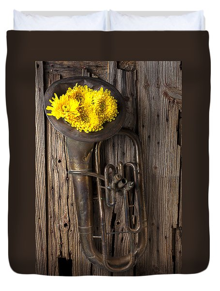 Old Tuba And Yellow Mums Duvet Cover by Garry Gay