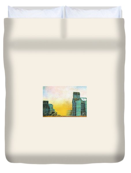 Old Used Grain Elevator Duvet Cover by Janette Boyd