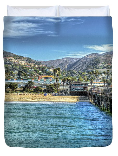 Old Ventura City From The Pier Duvet Cover by David Zanzinger