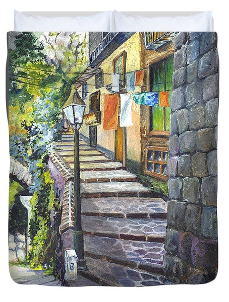 Old Village Stairs - In Tuscany Italy Duvet Cover