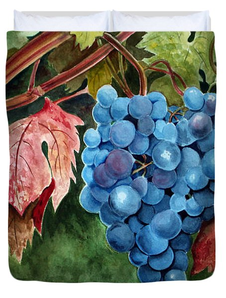 Duvet Cover featuring the painting Old Vine Zinfandel by Debbie Hart