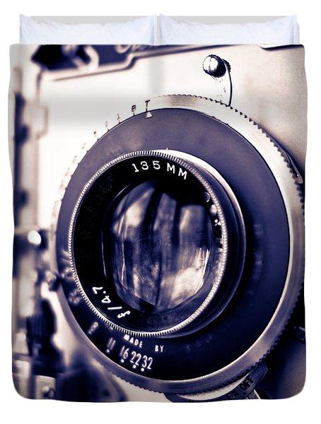 Old Vintage Press Camera  Duvet Cover by Edward Fielding