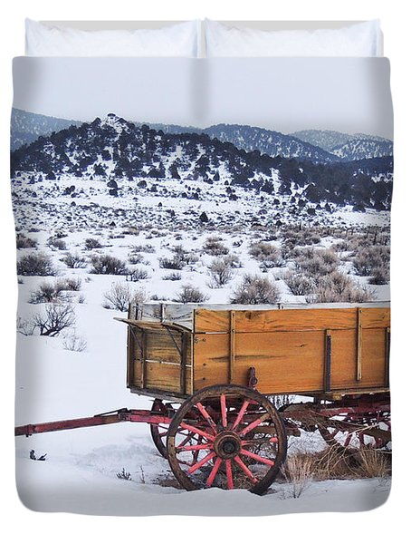Old Wagon In Snow Duvet Cover
