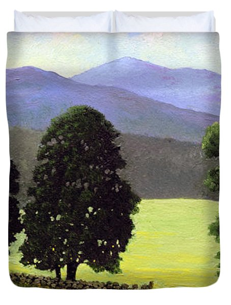 Old Wall Old Maples Duvet Cover