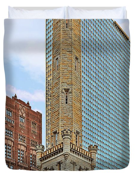 Old Water Tower Chicago Duvet Cover by Christine Till