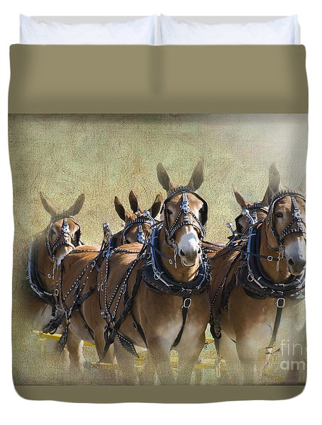 Old West Mule Train Duvet Cover