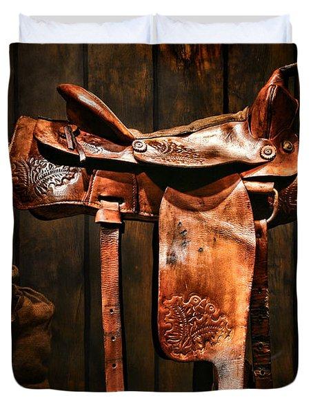 Old Western Saddle Duvet Cover
