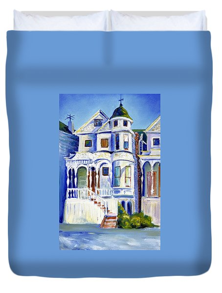 Duvet Cover featuring the painting Old White Victorian In Oakland California by Asha Carolyn Young
