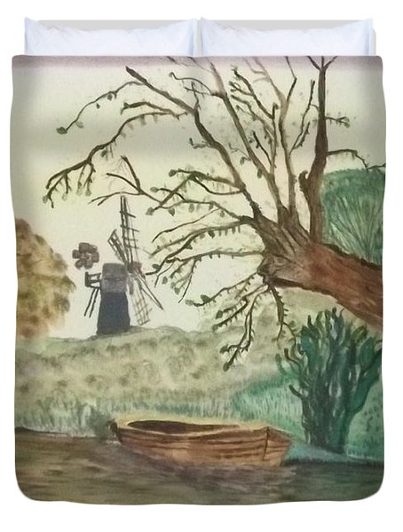Duvet Cover featuring the painting Old Willow And Boat by Tracey Williams