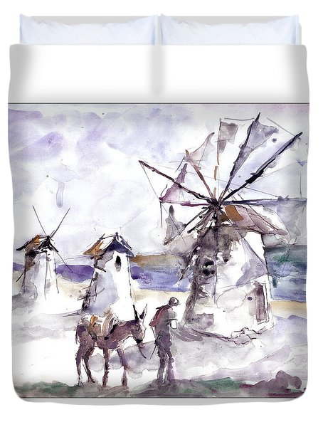 Old Windmills At Bodrum Duvet Cover