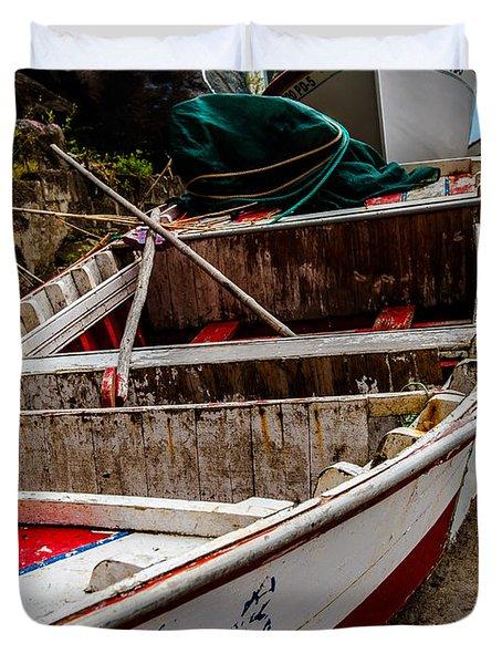 Old Wooden Fishing Boat On Dock  Duvet Cover