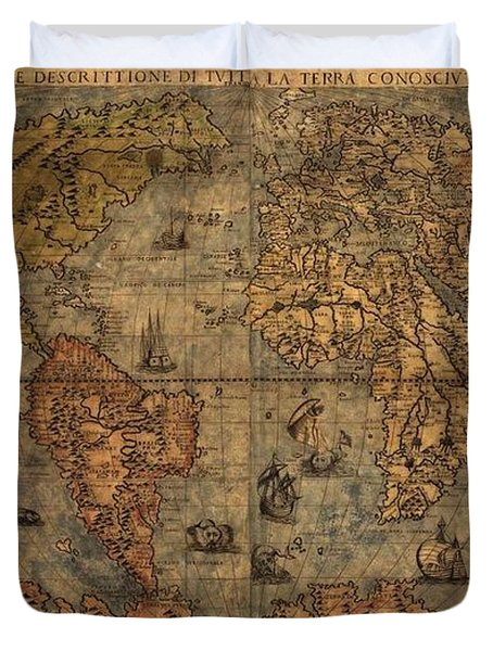 Old World Map Duvet Cover by Dan Sproul