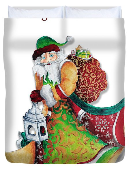 Old World Santa Christmas Art Original Painting By Megan Duncanson Duvet Cover by Megan Duncanson