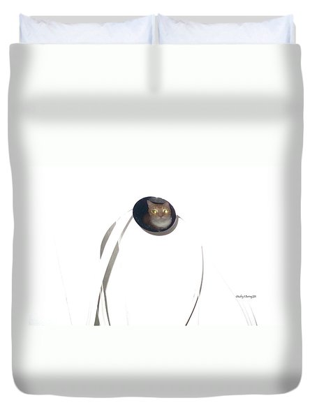 Duvet Cover featuring the photograph Olga Cat Reflected In Drawer Knob by Kathy Barney