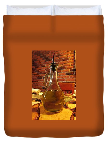 Duvet Cover featuring the photograph Olive Oil On Table by Cynthia Guinn