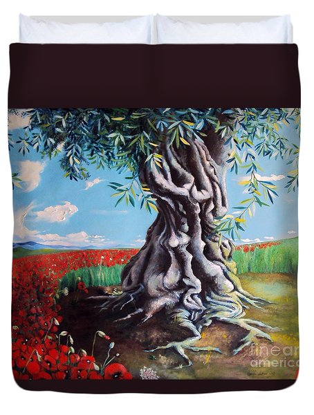 Olive Tree In A Sea Of Poppies Duvet Cover by Alessandra Andrisani