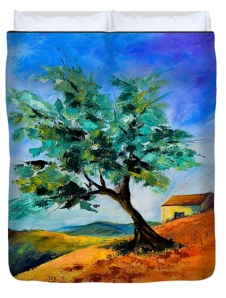 Olive Tree On The Hill Duvet Cover
