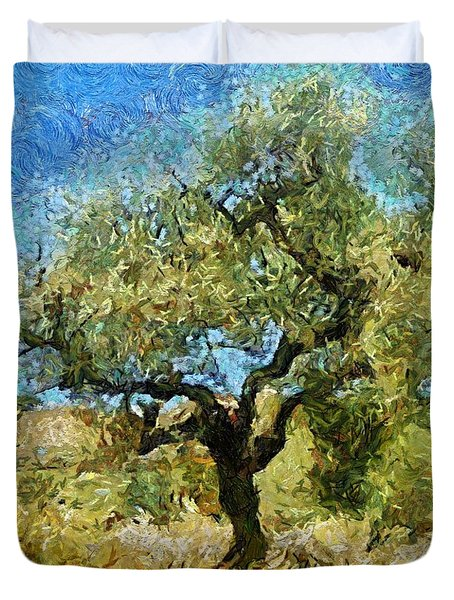 Olive Tree On Van Gogh Manner Duvet Cover by Dragica  Micki Fortuna