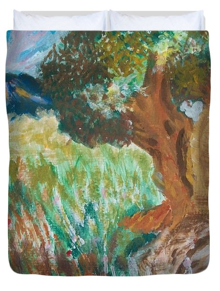 Duvet Cover featuring the painting Olive Trees by Teresa White