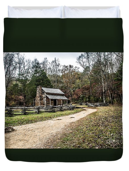 Duvet Cover featuring the photograph Oliver's Log Cabin by Debbie Green