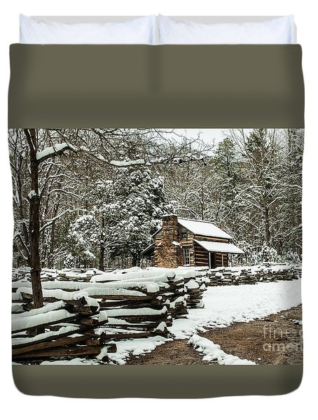 Duvet Cover featuring the photograph Oliver's Log Cabin Nestled In Snow by Debbie Green